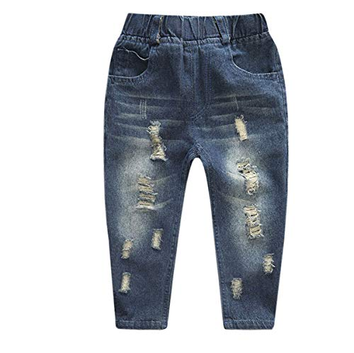 Boys' Jeans, Fleece Lined Winter Warm Distressed Ripped Denim Jeans Pants for Toddler & Little Boys, 1#Blue Fleece Lined, US 4T = Tag 110