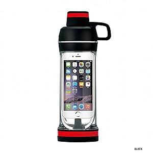 IPhone Sport Water Bottle Safe and Waterproof Mobile Phone Holder Design, Black