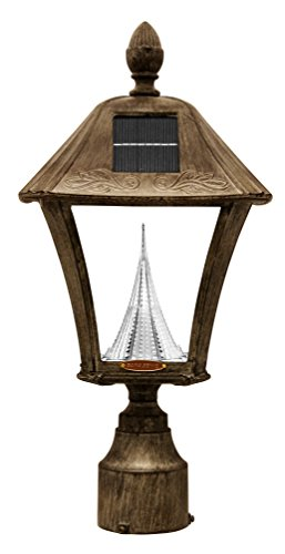 Gama-Sonic-Baytown-Solar-Outdoor-LED-Light-Fixture-PolePostWall-Mount-Kit-Weathered-Bronze-Finish-GS-106FPW-WB