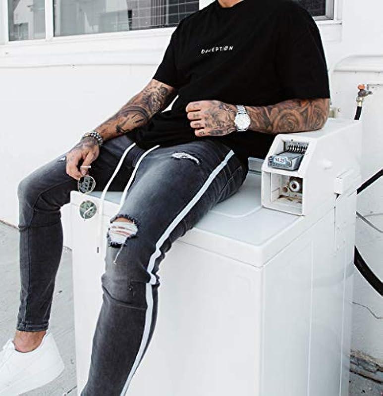 Caige męskie spodnie jeansowe Slim Fit, cienkie, podwinięte spodnie jeansowe, czarne, S: Küche & Haushalt