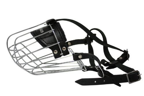 Wire Cage & Leather Muzzle (Miami). Size 9, Black. 13.75