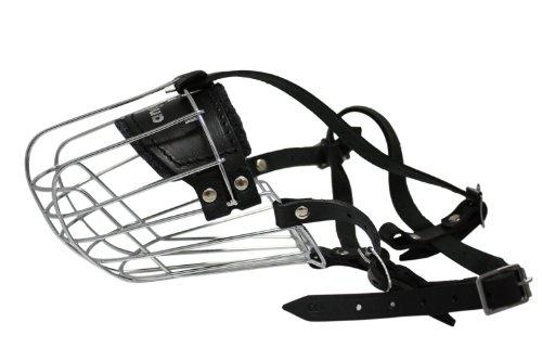 (Wire Cage & Leather Muzzle (Miami). Size 9, Black. 13.75