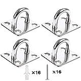 Heavy Duty Pad Eye Plate Staple Ring Hook LoopU-ShapedSail Shade Hardware - Wall Ceiling Hammock Hooks Hanger for Swing Suspension - Stainless Steel