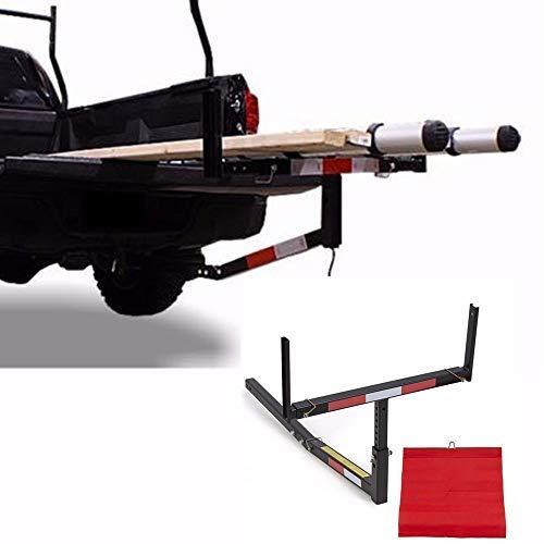 Nice1159 New Pick Up Truck Bed Hitch Extender Extension Rack Canoe Boat Kayak Lumber w/Flag -Load Capacity 375 Lbs, Easy to Install
