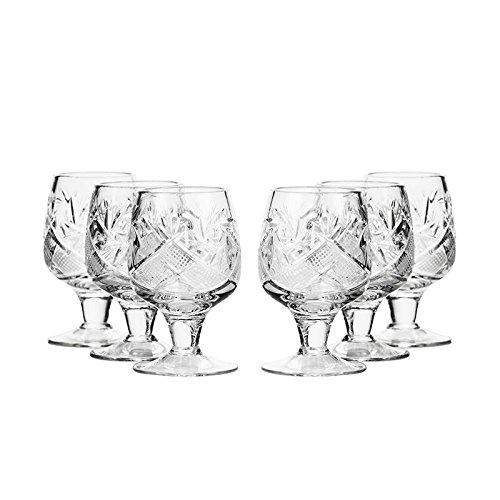 Set of 6 Neman Glassworks, 0.5-Oz Hand Made Vintage Russian Crystal Liquor Shot Glasses, Vodka Shots on a Stem, Old-fashioned Glassware