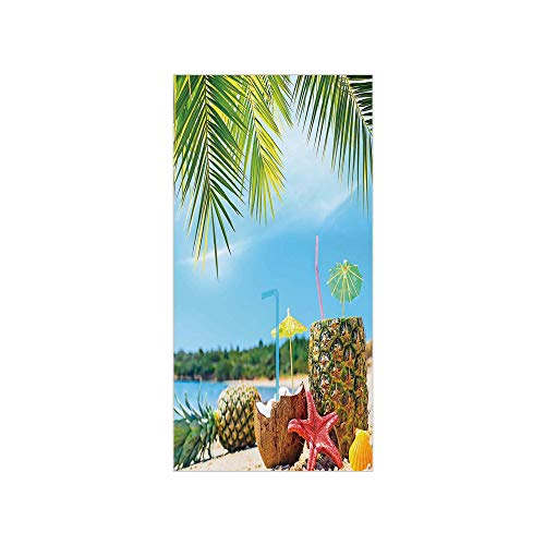 - 3D Decorative Film Privacy Window Film No Glue,Tropical,Fresh Summer Fruits Coconut and Pineapple Drinks at Exotic Beach Palm Trees,Blue Green Brown,for Home&Office