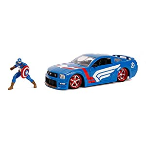 Jada Toys Marvel Captain America & 2006 Ford Mustang Die-Cast Car, 1:24 Scale Vehicle with 2.75″ Die-Cast Collectible Figure 31187