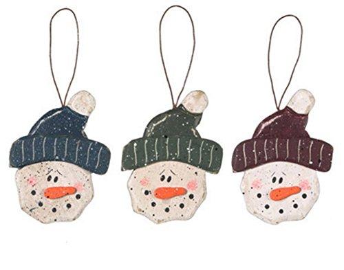 Wood Homespun Snowman - Face - 3 Assorted - 3.25 (Homespun Snowman)