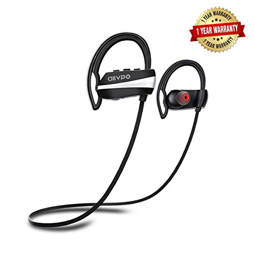 Bluetooth Headphones IPX7 Waterproof with Mic,12 Hrs Play Time Wireless Sports in-Ear Best Earphones HD Stereo Sweatproof Earbuds Headsets for Gym Running Workout Outdoor Noise Cancelling ()