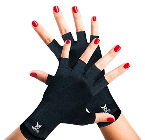 Arthritis Gloves for Women and Men by Copper Compression Gear - Guaranteed to Speed Up Recovery & Relieve Symptoms of Carpal Tunnel Syndrome, Arthritis, RSI, Tendonitis & More! (Pair of Gloves)