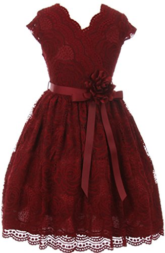 Flower Girl Dress Curly V-Neck Rose Embroidery AllOver for Little Girl Burgundy 6 JKS.2066 Burgundy Flower Girl Pageant Dress
