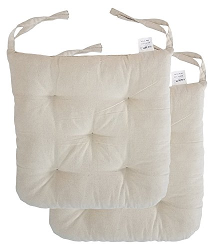 "Cottone 100% Cotton Chair Pads w/Ties (Set of 2) | 16"" x 16"" Square 