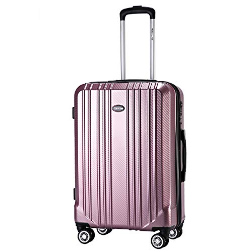 Travel Joy Expandable Carry on Luggage ABS+PC Premium Suitcase TSA Locks Lightweight Spinner Wheels Hardshell Luggage(ROSY GOLD1