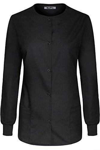 MedPro Women's Medical Scrub Button Down Jacket w/Patch Pocket Black M -