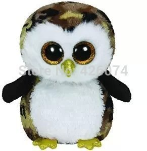 Original Ty Beanie Boos Big Eyed Stuffed Animals Owliver Camo Owl 25CM Kids Plush Toys Stuffed Dolls For Children Gifts