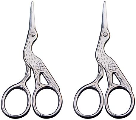 kiniza 2 Pack Craft Scissors, Silver Stainless Steel Sharp Tip Classic Stork DIY Stork Tool Scissors for Handicrafts, Embroidery,Needlework, Office Art, Shears and Daily Use