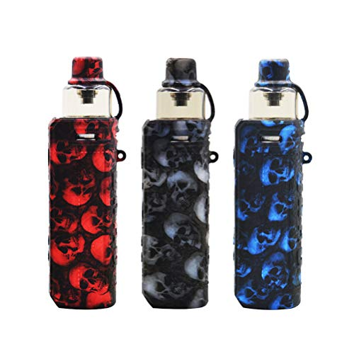 VOOPOO Drag x Device Holster Silicone Case Cover Shield Wrap Skin Protective Case, with Lanyard (Black skull) 2