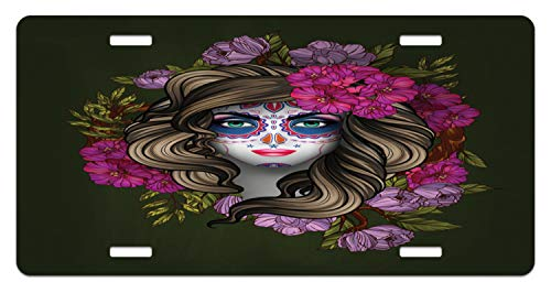 Lunarable Makeup License Plate, Calavera Day of The Dead Mexican Sugar Skull Faced Woman with Floral Head Halloween, High Gloss Aluminum Novelty Plate, 5.88 L X 11.88 W Inches, -