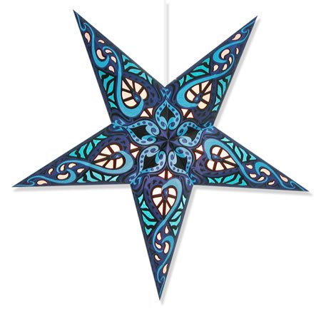 Celtic Blue Star Lantern (Celtic Blue Star Lantern) (Paper Star Lantern)