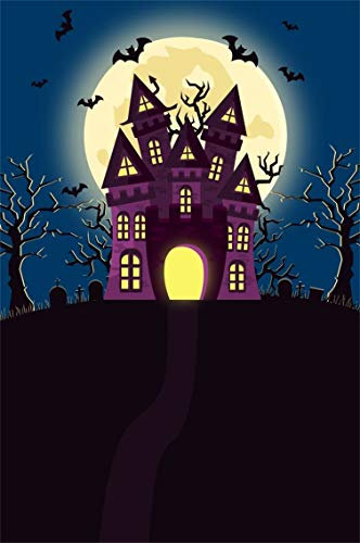 Leyiyi 3x5ft Cartoon Happy Halloween Backdrop Vintage Castle on Mountain Top Gothic Graveyard Full Moon Cross Bare Trees Photography Background Horror Costume Night Photo Studio Prop Vinyl Banner -