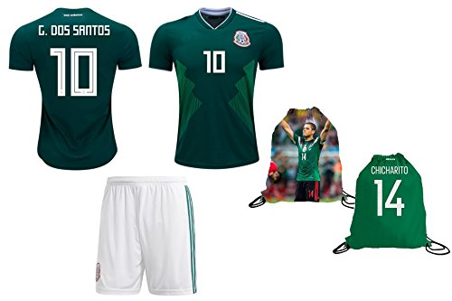 Fan Kitbag Dos Santos #10 Mexico Youth Home/Away Soccer Jersey & Shorts Kids Premium Gift Kitbag ✮ GIFT PACKAGING Soccer Ball Drawstring Backpack (Youth Large 10-13 Years, Home Short (Mexico Home Jersey Shirt)