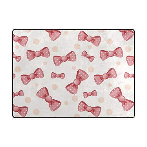 MONTOJ Red Girl Bowknot Pattern Shoes Scraper Floormat Area Rugs Super Soft Living Room Bedroom Home Decoration Carpet Doormat Wearproof
