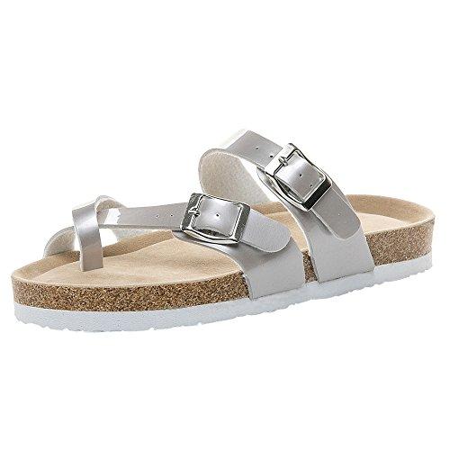 MOIKA Damen Slipper Sandalen Sommer Bohemia Schuhe Outdoor Strand Sandaletten Zehentrenner Flache Sandalen Silber