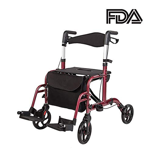 - ELENKER Medical Transport Chair Foldable 4 Wheels Rollator Walker with Detachable Footrests