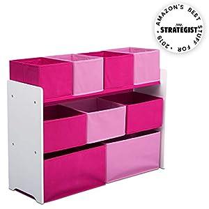 Delta Children Deluxe Multi-Bin Toy Organizer with Storage Bins, White/Pink