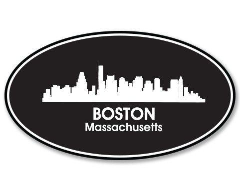 Boston Oval Vinyl Sticker - Car Phone Helmet - SELECT - Boston Downtown Massachusetts
