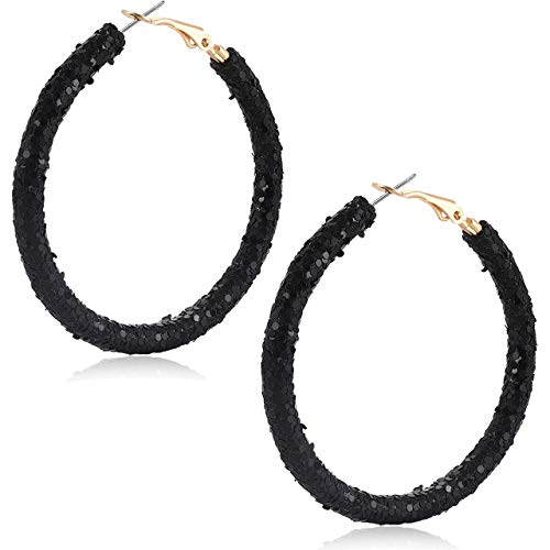 Urwomin Rhinestone Hoop Earrings for Women Handmade Bohemian