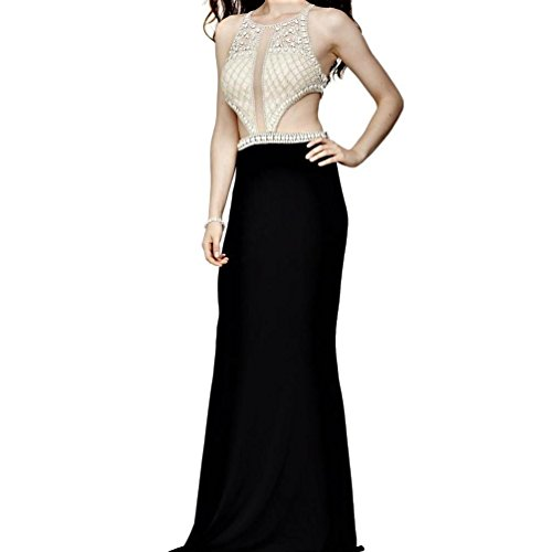 Jovani Women's Black Silver Cut-Out Embellished Evening Gown Long Dress Pageant Prom Formal SZ 8 ()