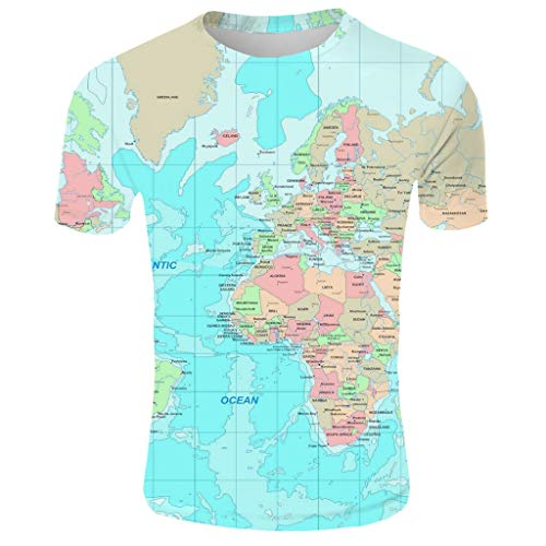 New 3D Globe Print Mens T Shirts Crew Neck Short Sleeve Tops Cusual Plus Size Tee Blouse (XL, Green) ()