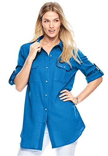 Bright Blue Convertible - Women's Plus Size Cotton Gauze Shirt Bright Cobalt,18/20