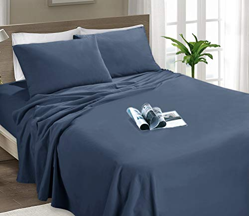 MARQUESS 4-Piece Flannel Sheet Set-Soft & Comfortable Microfiber Bedding Sheet, Easy Care and Fade Resistant, Ultra Warm & Luxurious Bedding Collection (Jean Blue, Queen) (Set Size Sheet Queen Flannel)