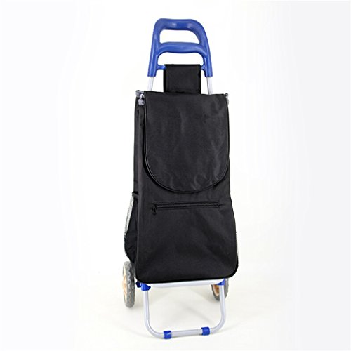 Hand Truck Pull Rod Car Portable Supermarket Shopping Cart Collapsible Iron Tube Trolley Household Waterproof Bag Seniors Small Cart 25 Kg Load Strong and firm (Color : Blue) -