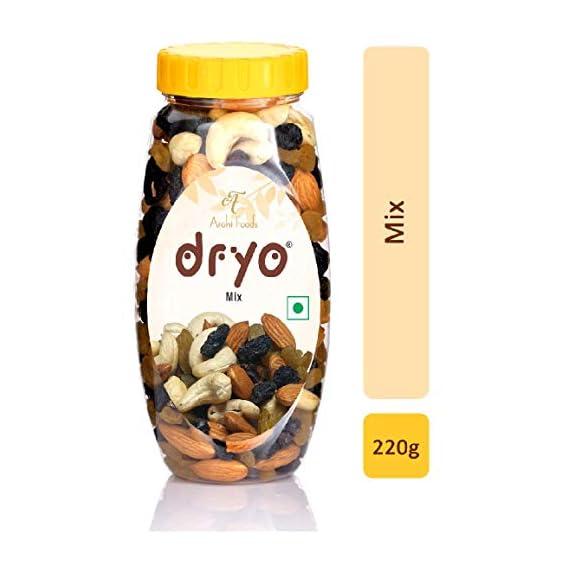 Dryo Premium Healthy Natural Dry Fruit Mix Nuts 220g(Almonds ,Raisins ,Cashews & Black Raisins Mixed in Equal Quantity)