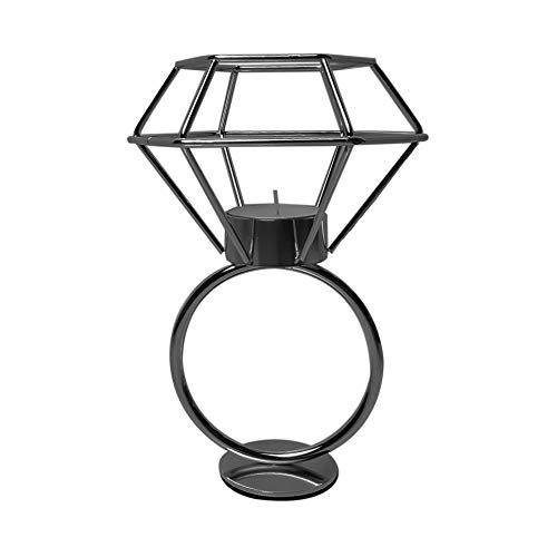JI SHIH Black Color Coated Metal Wire Diamond Ring Shape Candle Holder