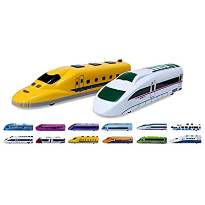 PowerTRC Fun Mini Pull Back Toy Train Perfect for Party Favor Kids Multi-Color Subway Train 12 Pieces Fiction Locomotive Gift: Toys & Games