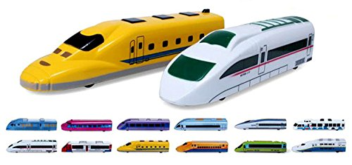 (PowerTRC Fun Mini Pull Back Toy Train Perfect for Party Favor Kids Multi-Color Subway Train 12 Pieces Fiction Locomotive Gift)