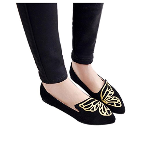 Inkach Womens Flat Shoes   Ladise Embroidery Butterfly Suede Shoes   Casual Slip-On Shoes (7.5, Black)