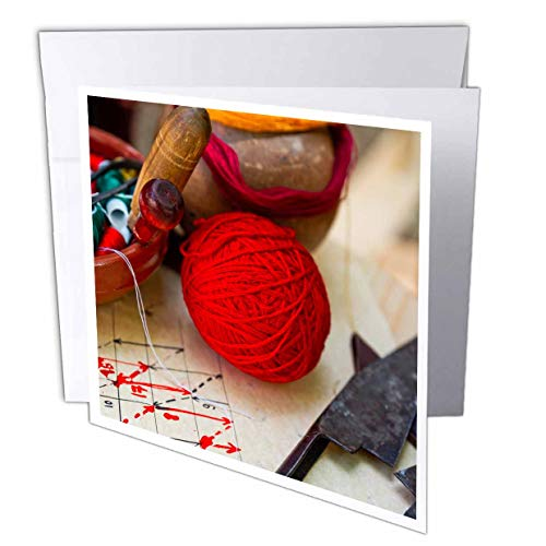 3dRose Alexis Photography - Objects Handicraft - A Ball of red Yarn, a Bowl of spools of Threads, Scissors. Needlework - 12 Greeting Cards with envelopes (gc_308096_2) ()