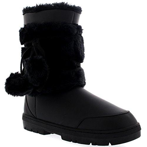 Inverno AEA0324 Foderato Scarpa Pelliccia Donna Pom Pom Breve BLL40 Stivali Pioggia UZRw67x