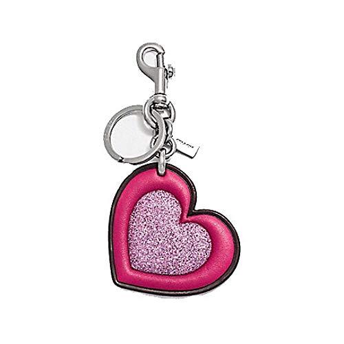Coach Silver Charm - Coach GLITTER HEART BAG CHARM F39533 Keychain PINK/SILVER