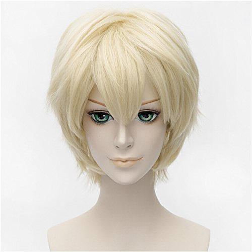 Flovex Short Straight Anime Cosplay Wigs Natural Sexy Costume Party Daily Hair (Blonde 1) (Light Blonde Wig)