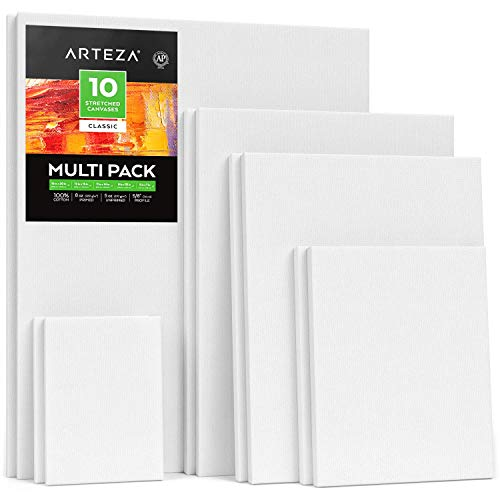 "Arteza Stretched White Blank Canvas Multi Pack, 5x7"", 8x10"", 11x14"", 12x16"", 16x20"" (2 of Each) Set of 10, Primed, 100% Cotton, for Acrylic, Oil, Other Wet or Dry Art Media, for Artists from ARTEZA"