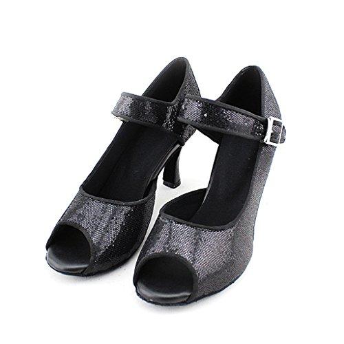 Women's Practice Frauen Peep Salsa Ballroom 75 75 Schuhe Praxis with 2 Sandals Peep Salsa Tango Sandalen Latin Latin Dance Shoes toe 2 Dance Toe Misu Tango mit Ballroom Misu ZwqadORBq