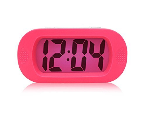 GoldFox Simple Silent LCD Digital Large Screen Alarm Clock Snooze/light function Batteries Powered with Silicone Protective Cover (Pink) BAAKYEEK AEQW-WER-AW140240