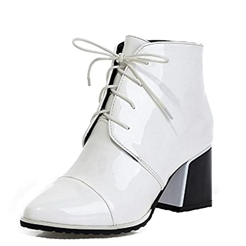 Women's Patent Leather Lace-Up Pointed Closed Toe Kitten-Heels Low-Top Boots