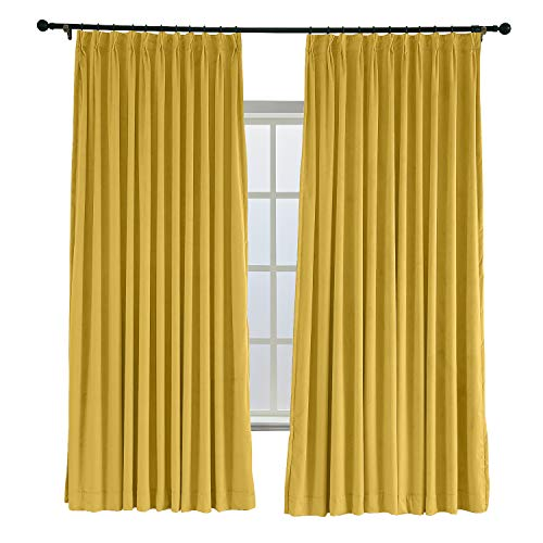 ChadMade Pinch Pleated 42W x 96L Blackout Lined Velvet Curtain Drapery Panel for Traverse Rod or Track, Living Room Bedroom Meetingroom Club Theater Patio Door (1 Panel), Yellow ()